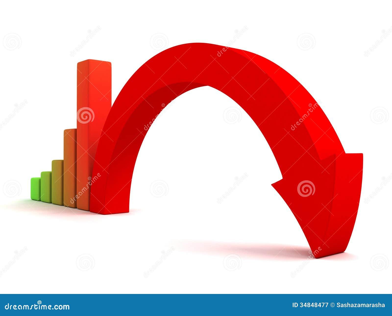 business graph decline arrow down crisis concept stock image