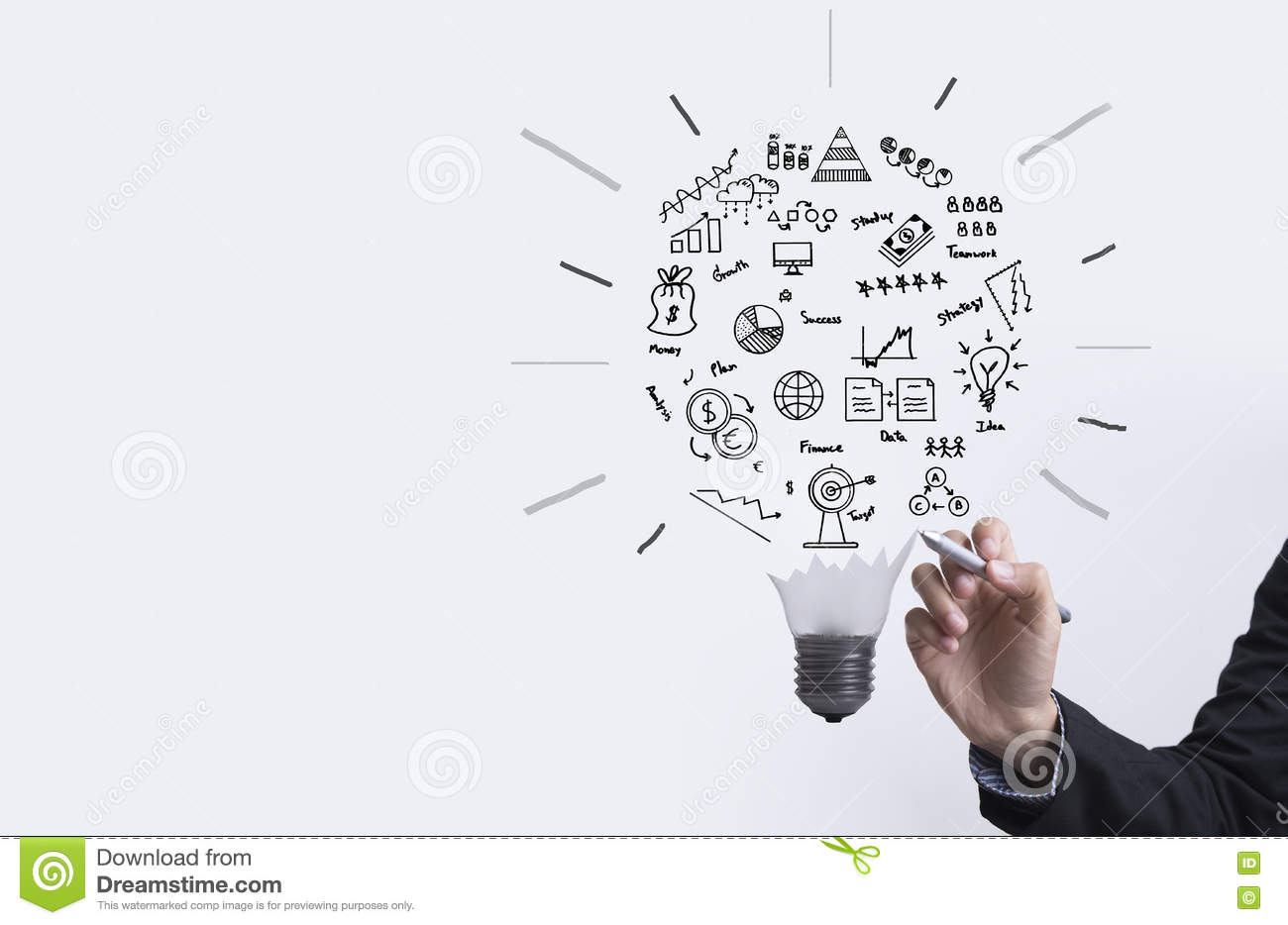 Business graph with light bulb concept for idea, innovation.