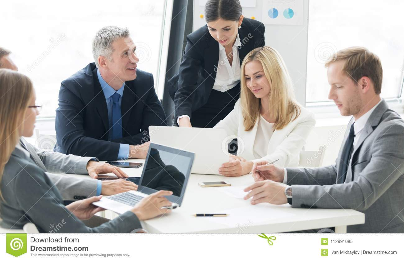 Business group at meeting