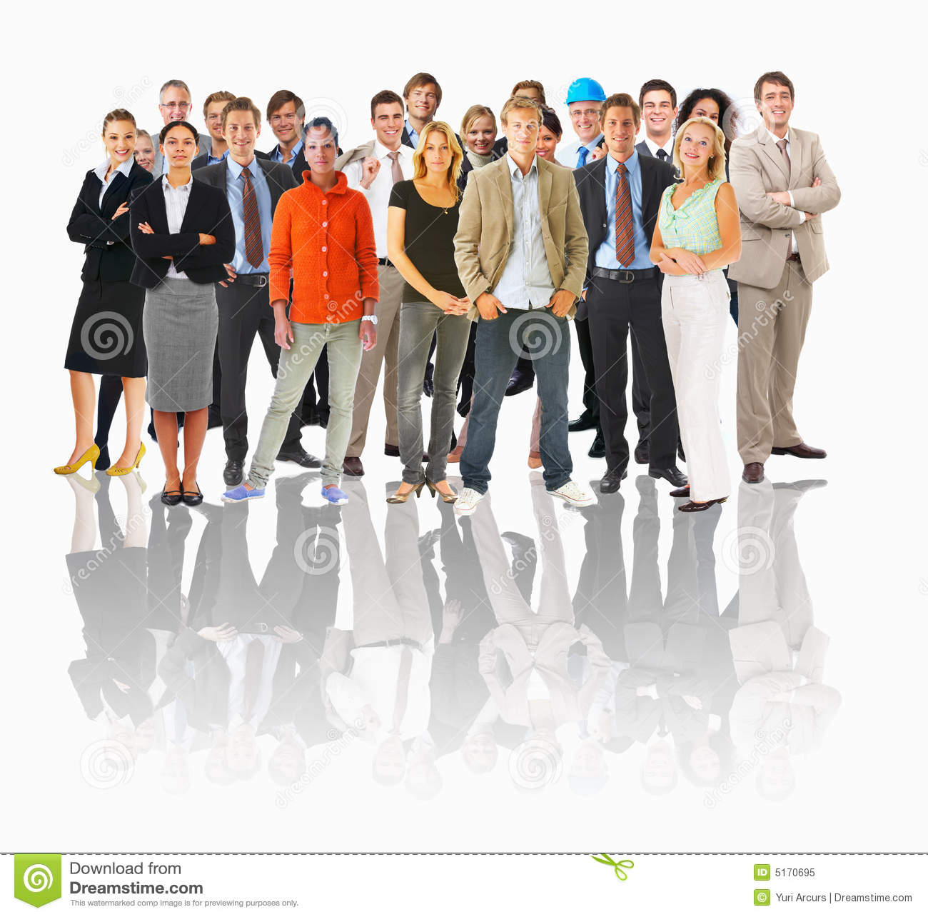Business groups and different people in a line con