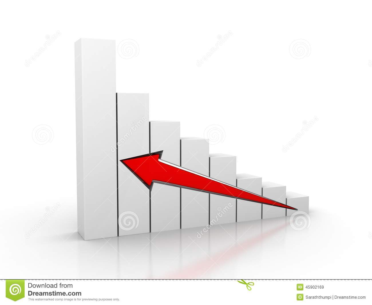 Business Growth Arrow On Grid Chart 3D Stock Illustration ...