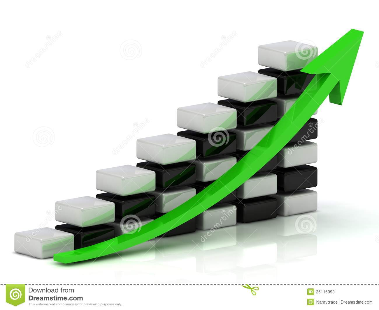 Business Growth Chart With A Green Arrow Stock Photos ...