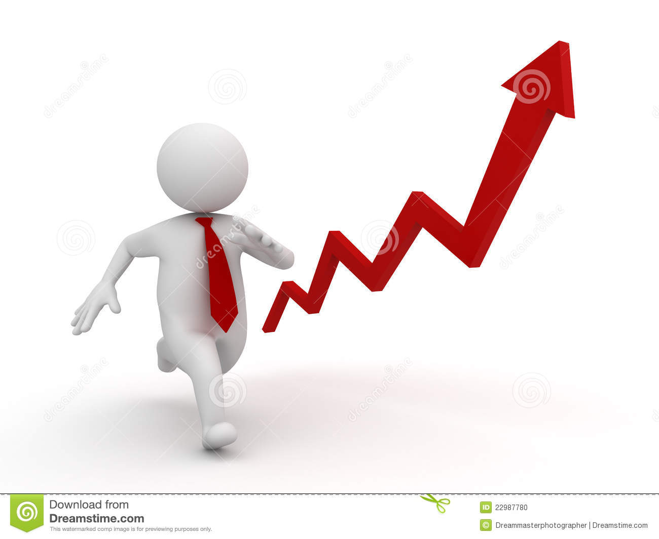 Business growth concept, 3d running businessman with red rising arrow ...