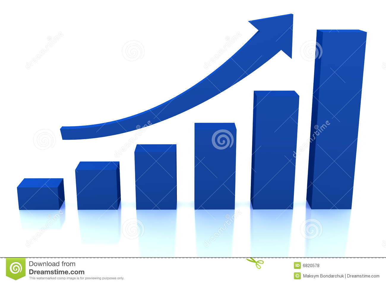 Business Growth Diagram With Blue Arrow Royalty Free Stock ...