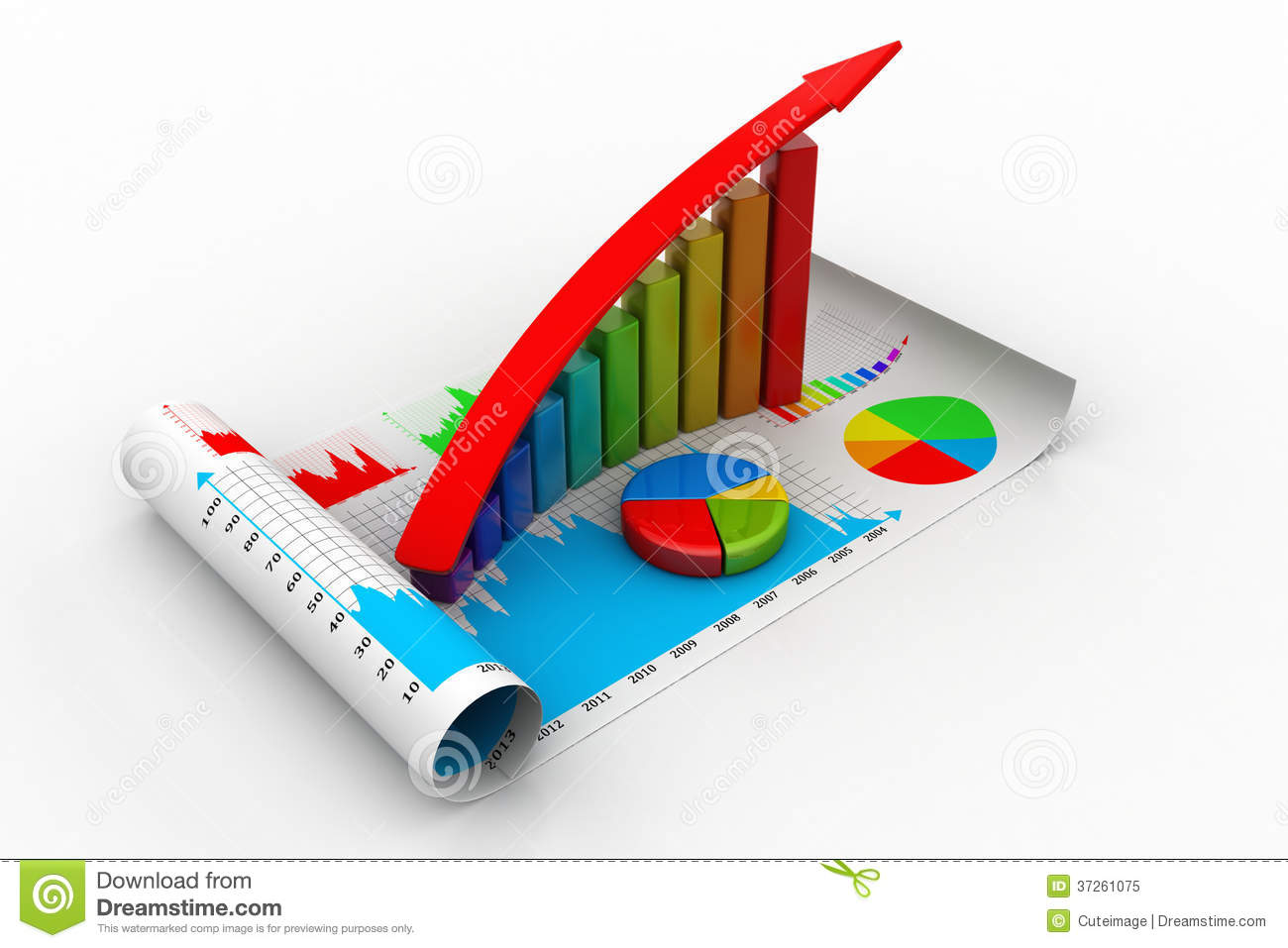 Business growth graph and pie chart stock illustration business growth graph and pie chart concept blue nvjuhfo Choice Image