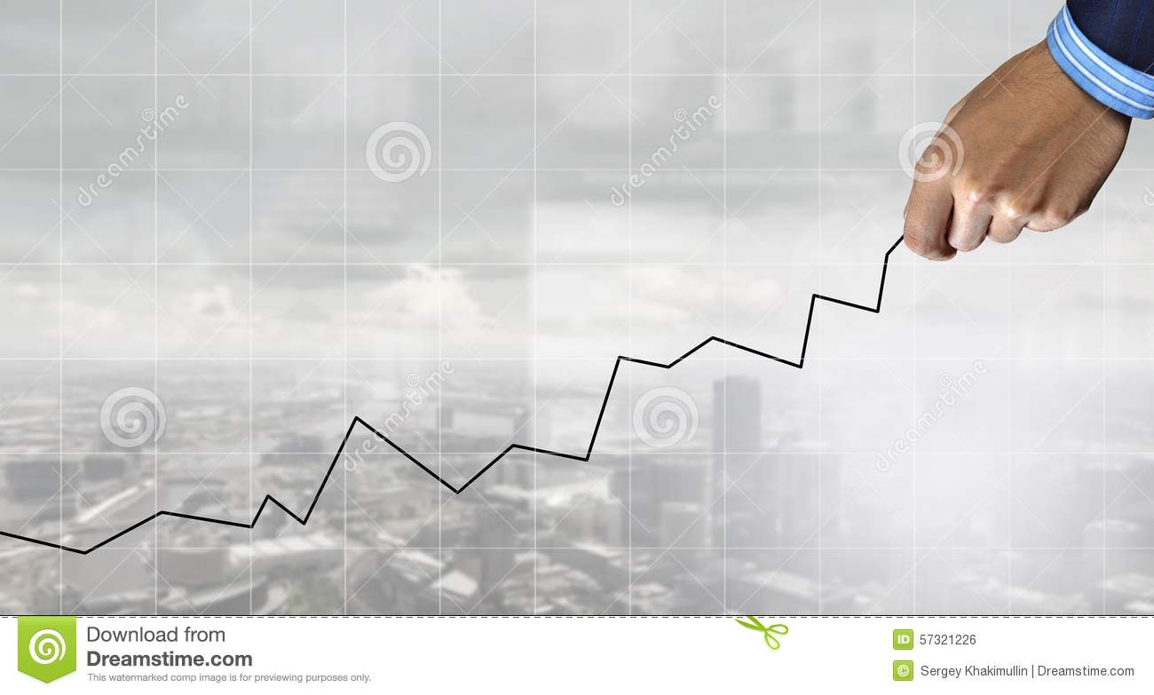 Drawing Line Graphs By Hand : Business growth stock photo image of line