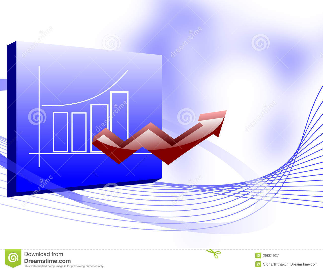 Business Growth Chart With An Up Arrow Royalty Free Stock ...