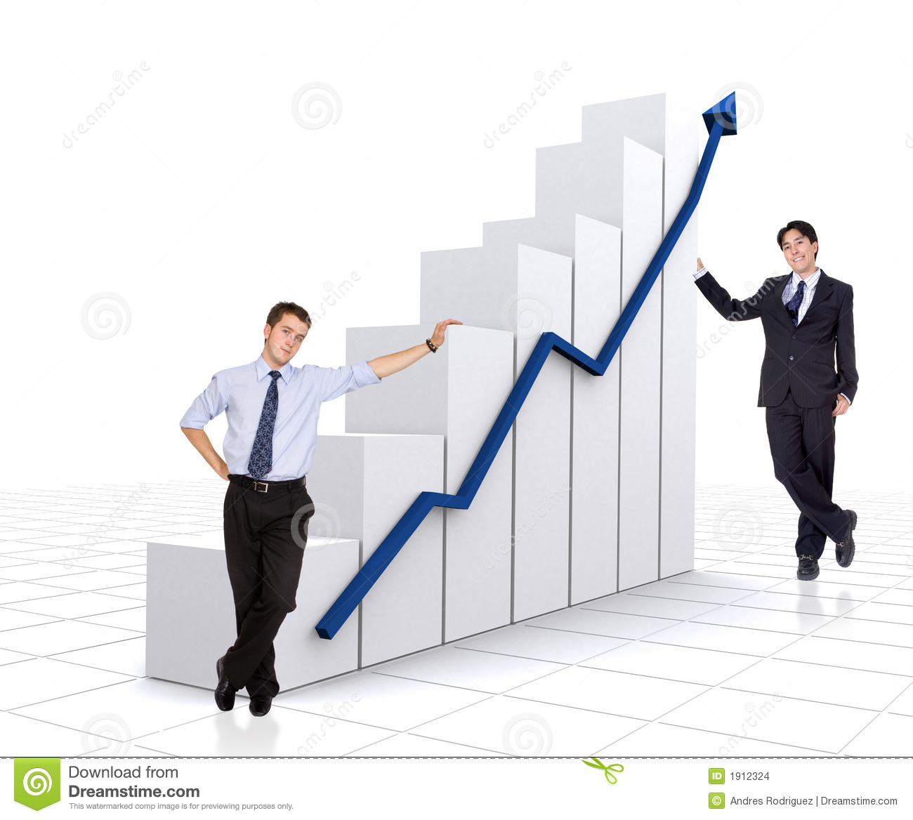 Business: Business Growth And Success Chart With Business Men Stock