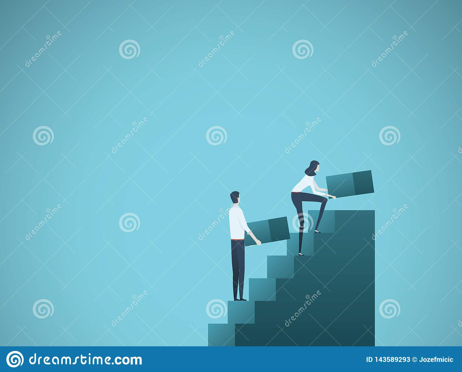 Business growth vector concept with businessman and businesswoman building steps as team. Symbol of success, achievement