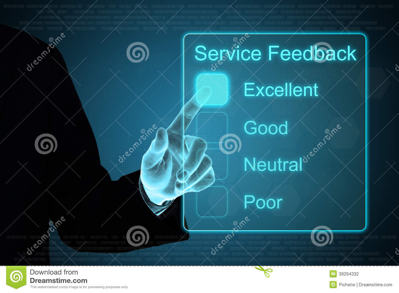 Business hand clicking service feedback on touch screen