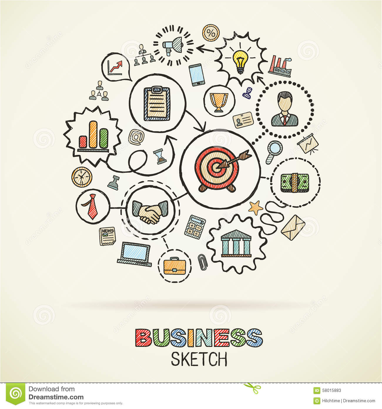 Business Hand Draw Sketch Icons Stock Vector Image 58015883