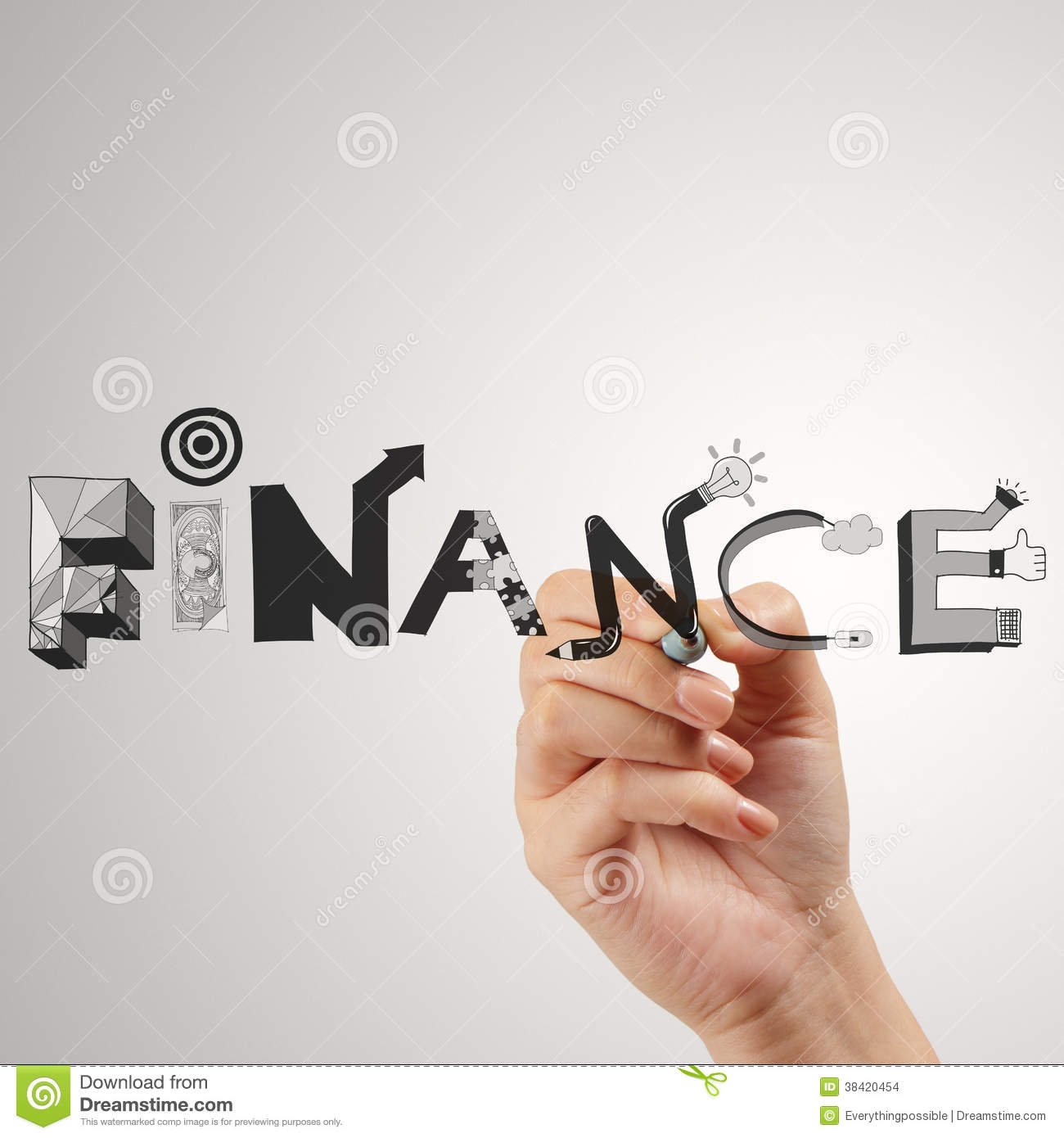 Finance Words: Business Hand Drawing Graphic Design FINANCE Stock