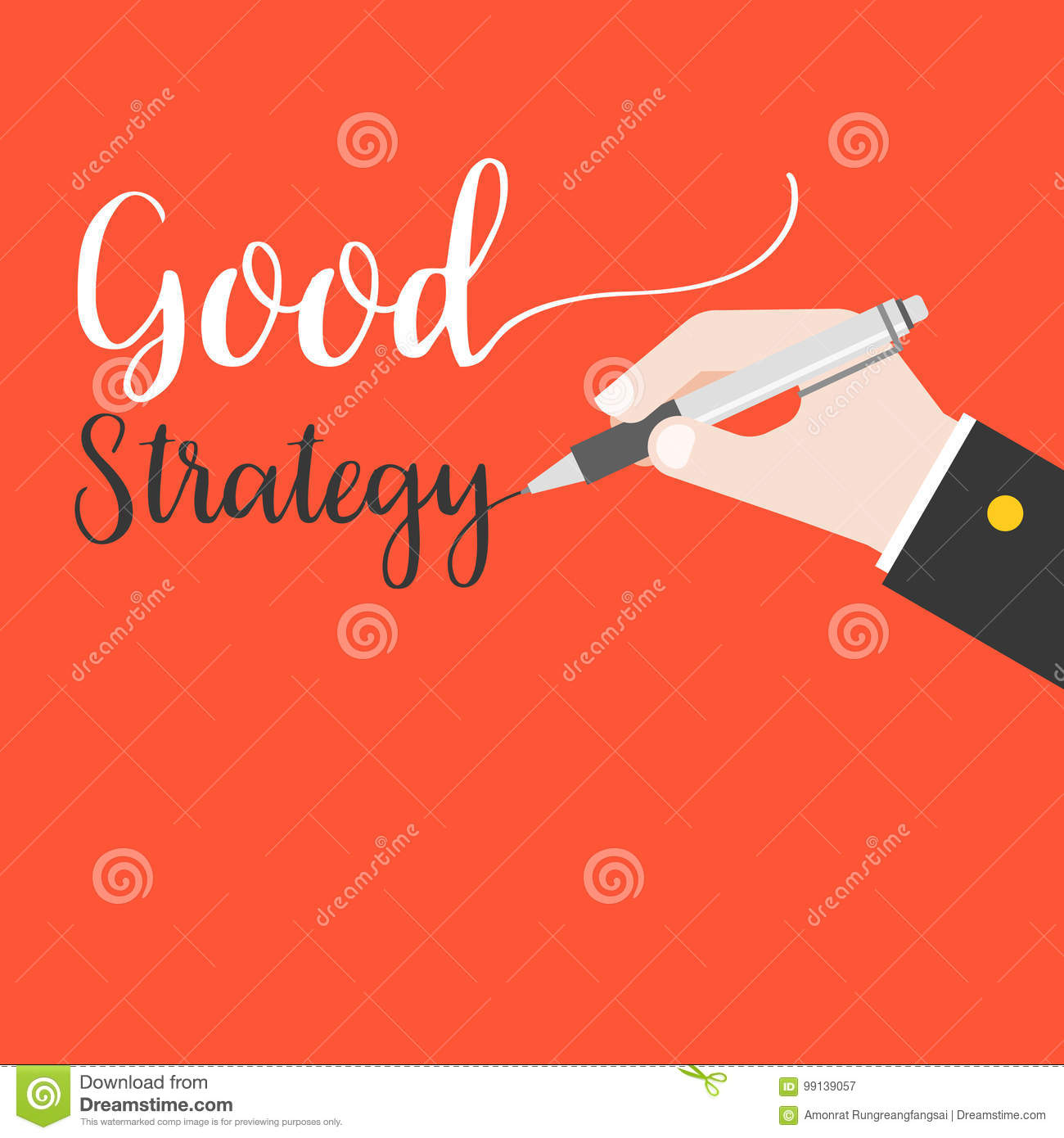 Business hand holding pen writing words good strategy hand lettering on red background