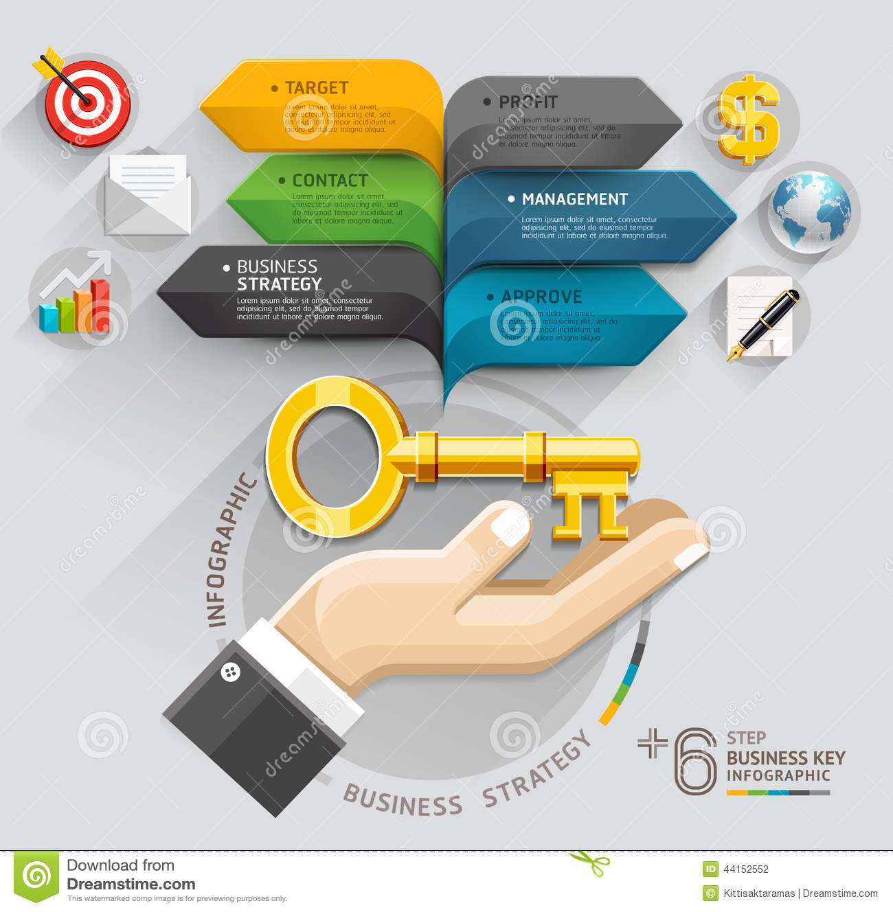 Business Hand With Key And Bubble Speech Arrow Template