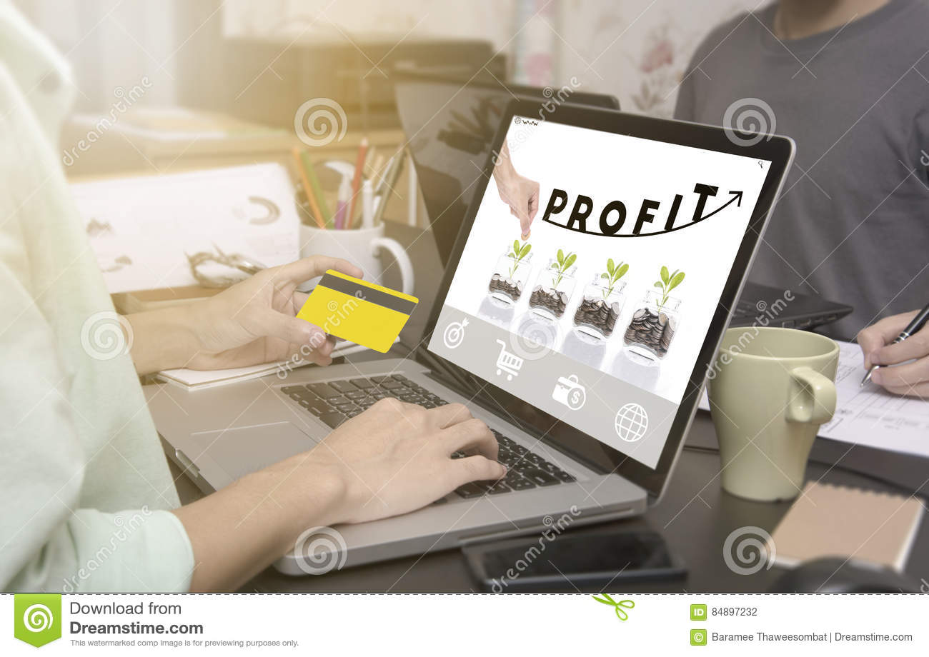 business hand typing on laptop keyboard with Profit homepage