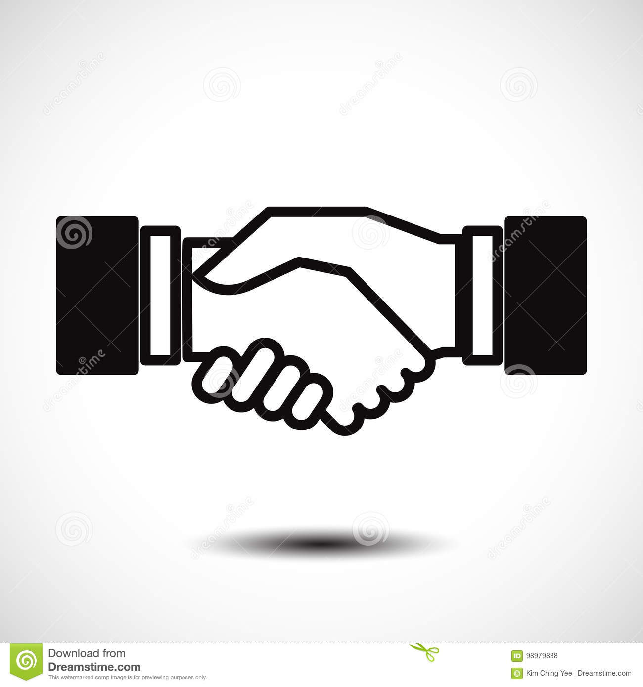 business handshake contract agreement flat icon for apps and