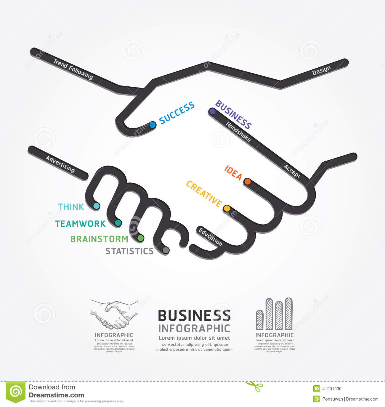 ... Handshake Diagram Line Style Template Stock Vector - Image: 41201930