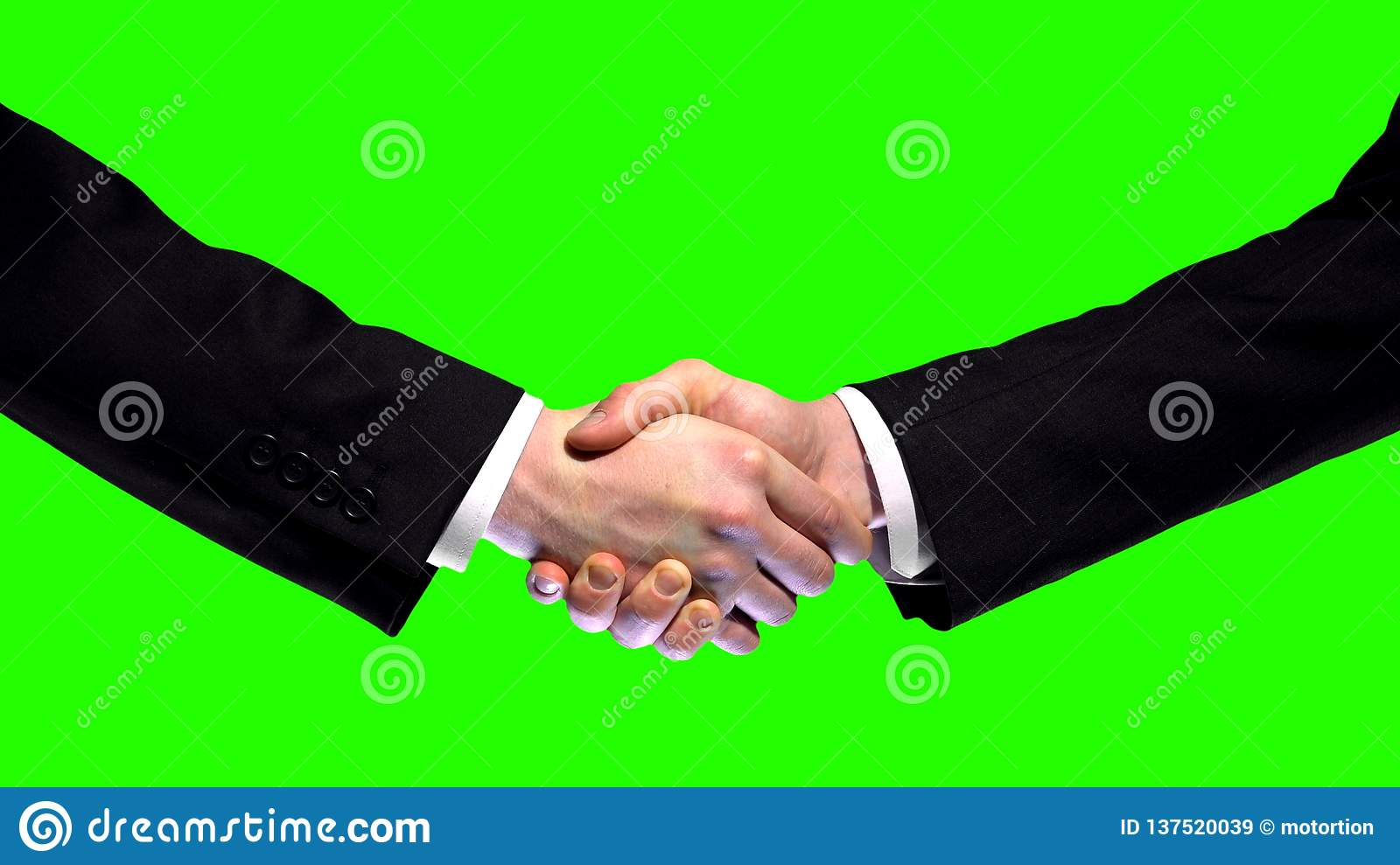 Business handshake on green screen background, partnership trust, respect sign