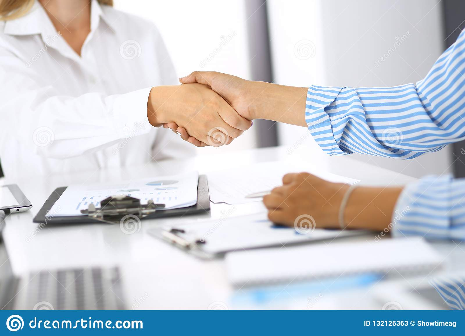Business handshake at meeting or negotiation in office. Partners shaking hands while satisfied because signing contract