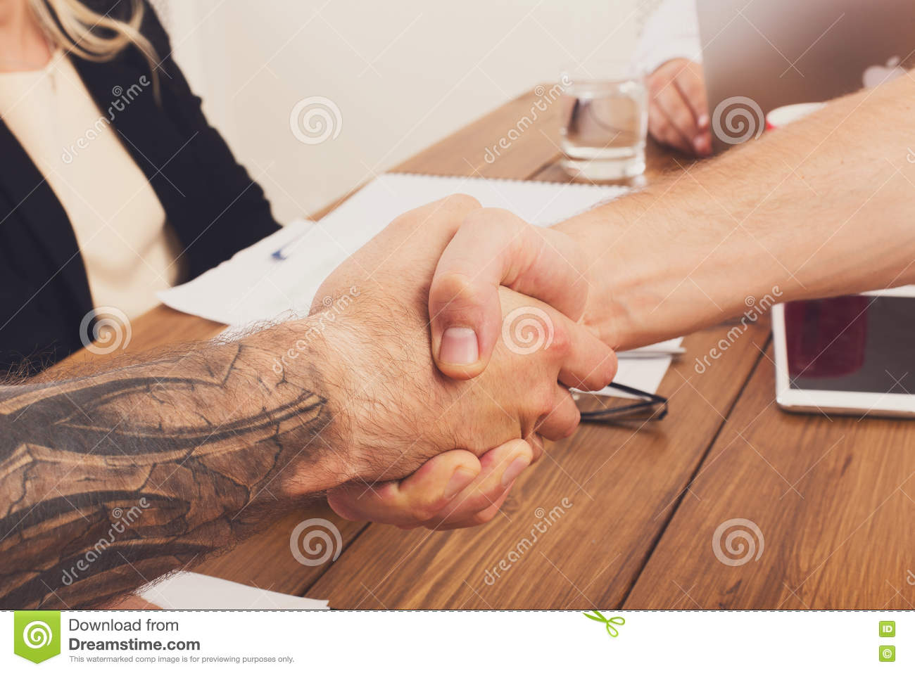 Business Handshake At Office Meeting Contract Conclusion And