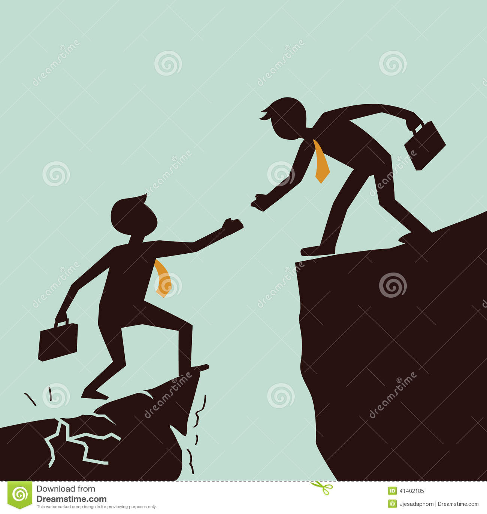 Helping Each Other: Business Help Cartoon Vector