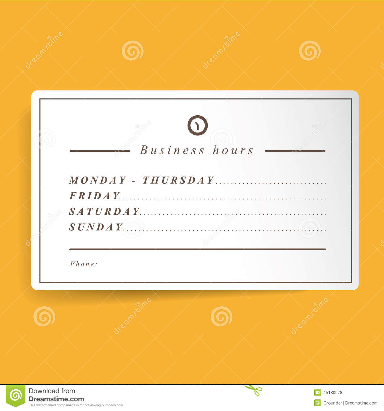 Business Hours Template Stock Illustration - Image: 45180978