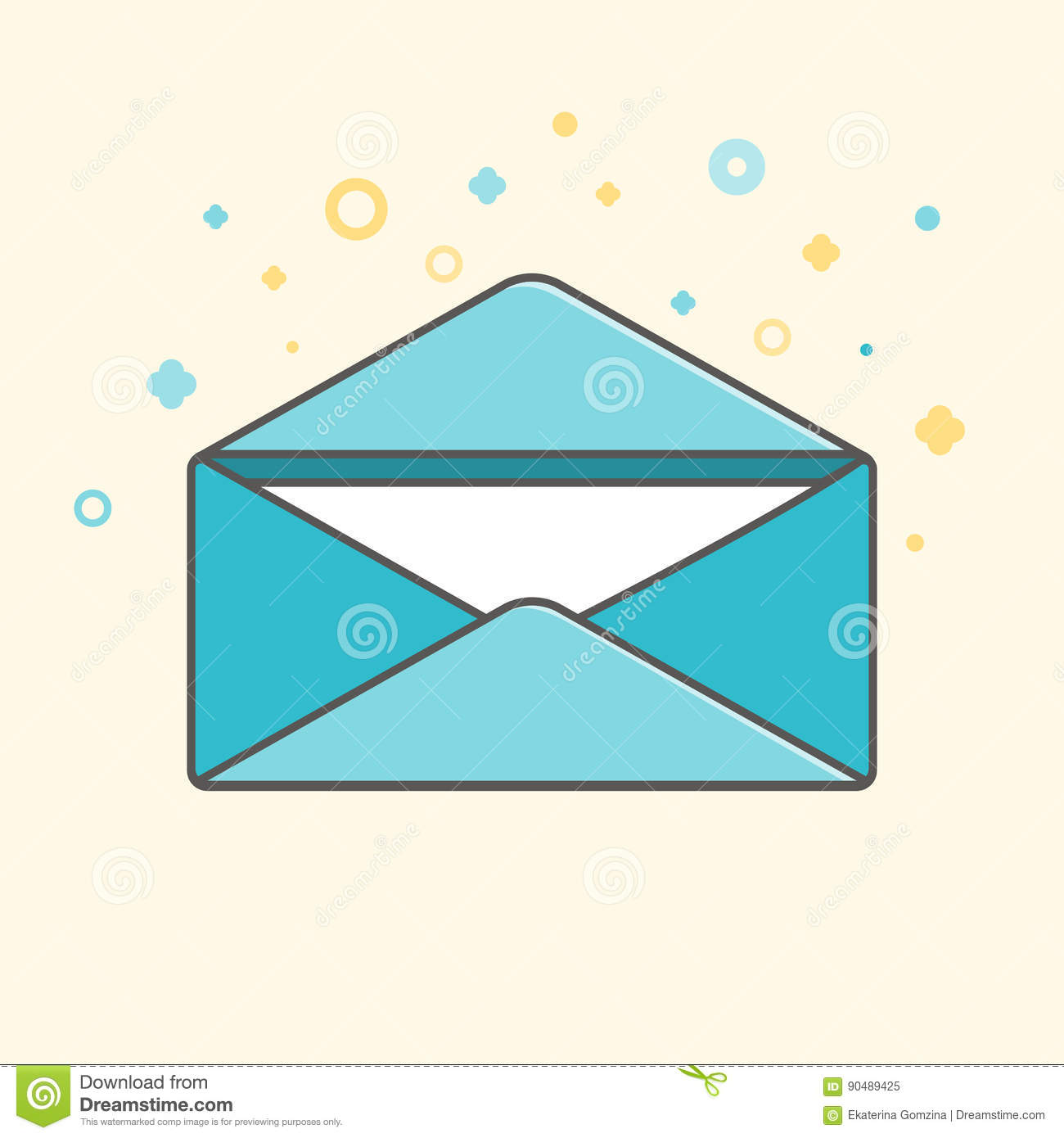 simple vector icon of an open envelope with letter inside