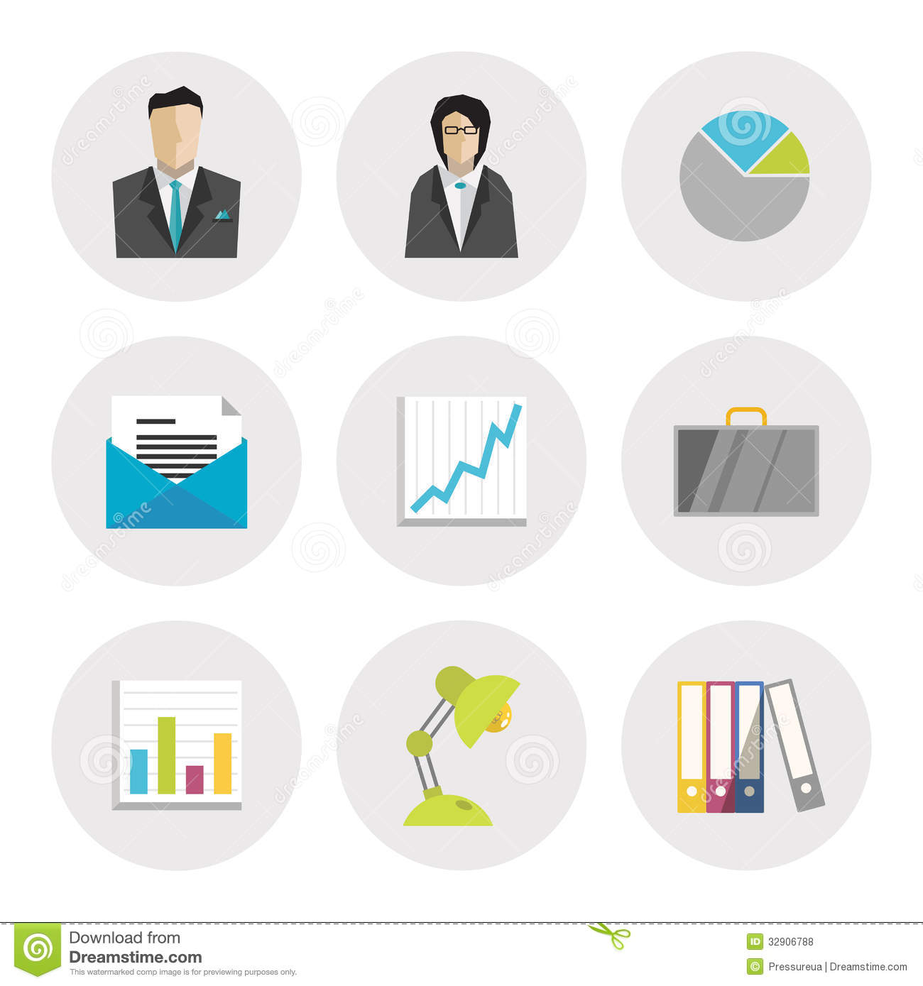 Business Icons In Flat Design Royalty Free Stock Photos