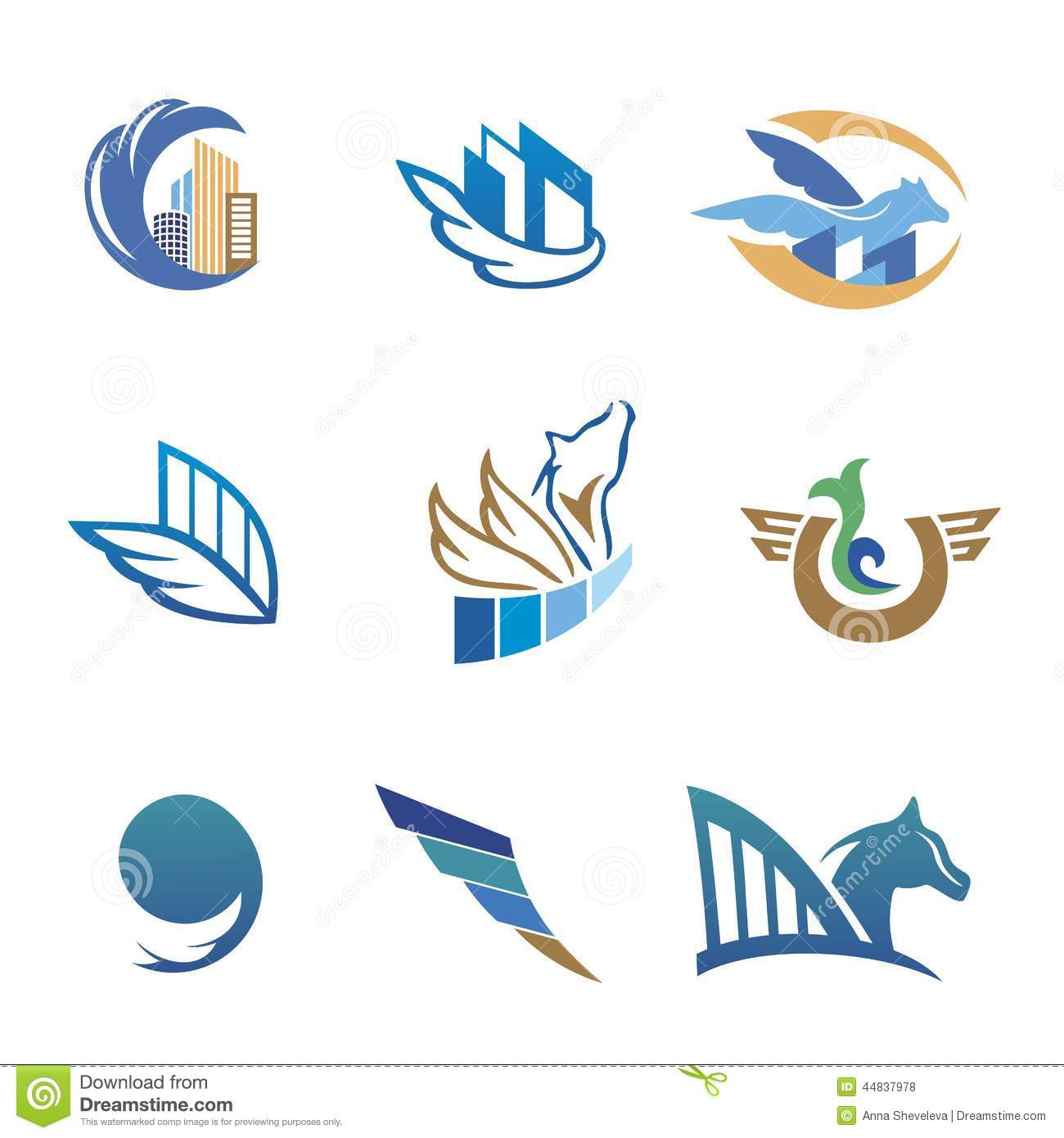 Business Icons With Horse And Houses Stock Vector Illustration Of