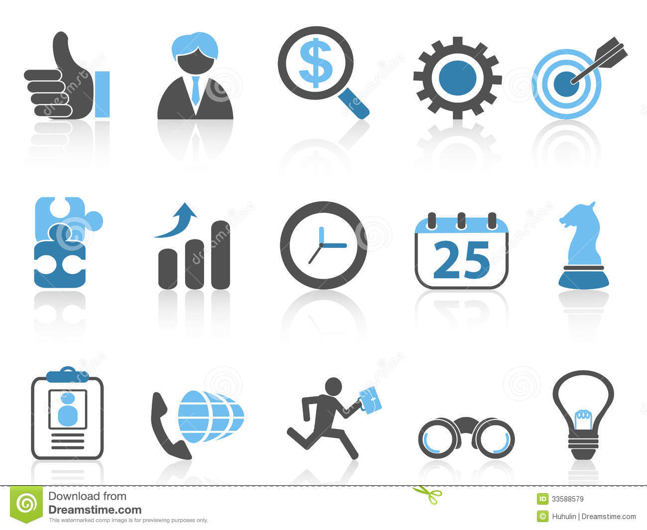 Global Business Icons Blue Series Stock Vector - Image: 45185121