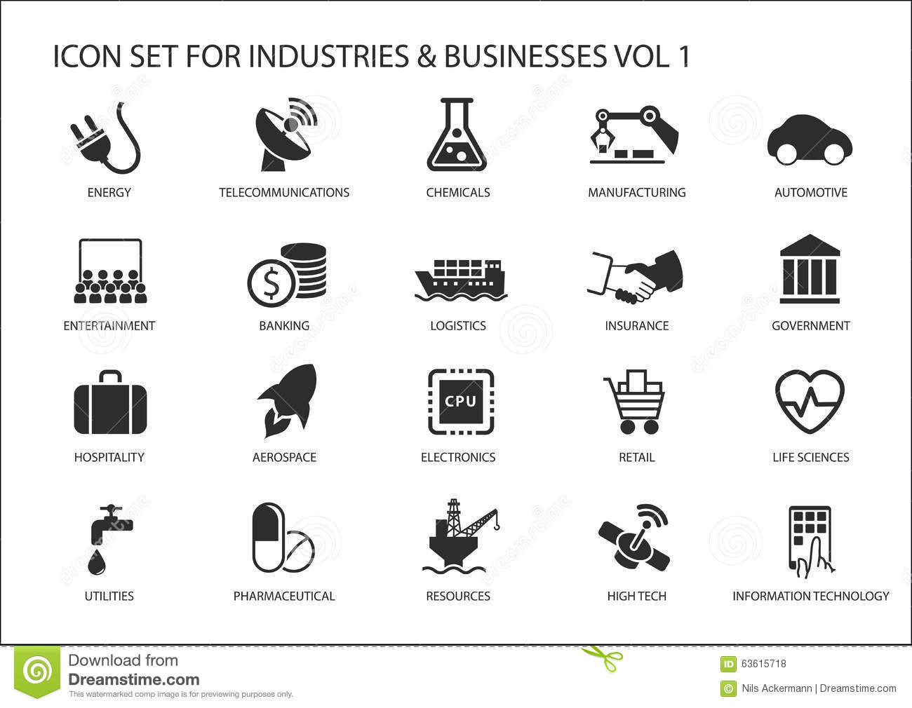 Business icons and symbols of various industries business business icons and symbols of various industries business sectors like financial services industry automotive life sciences biocorpaavc Images