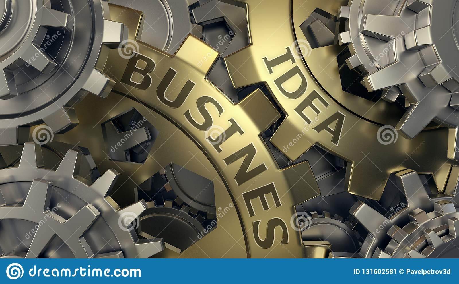 Business idea concept - Gold and silver gear weel background illustration. 3d render. Close-up
