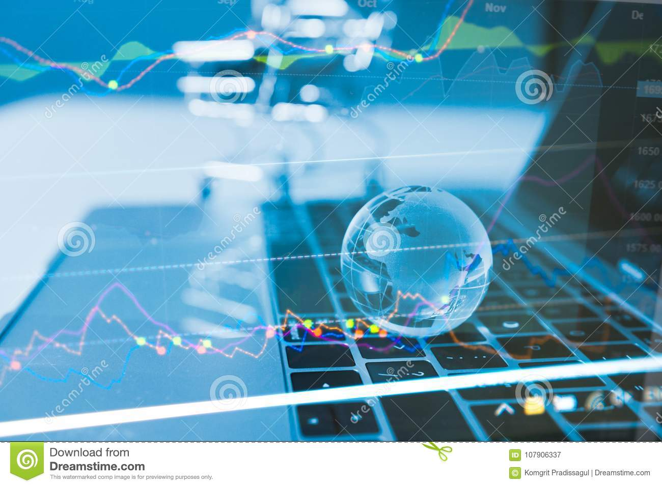 Business idea concept : World Wide currency trading trend concept, Clear crystal globe with world map