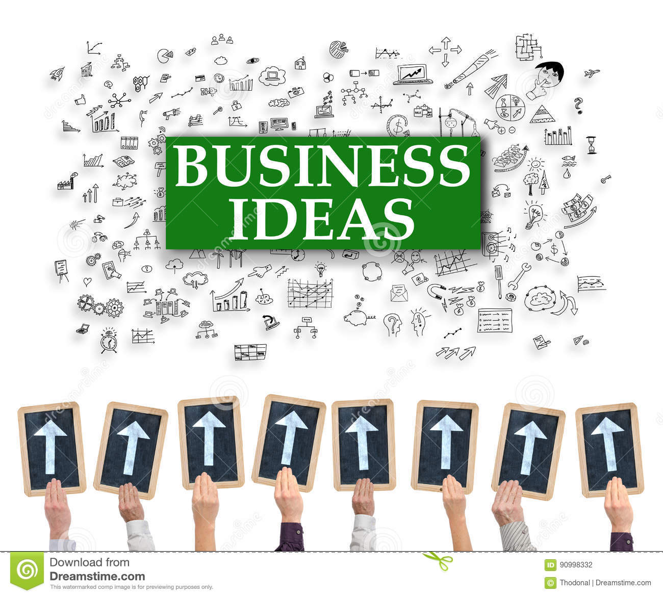 Ideas concept on a whiteboard royalty free stock