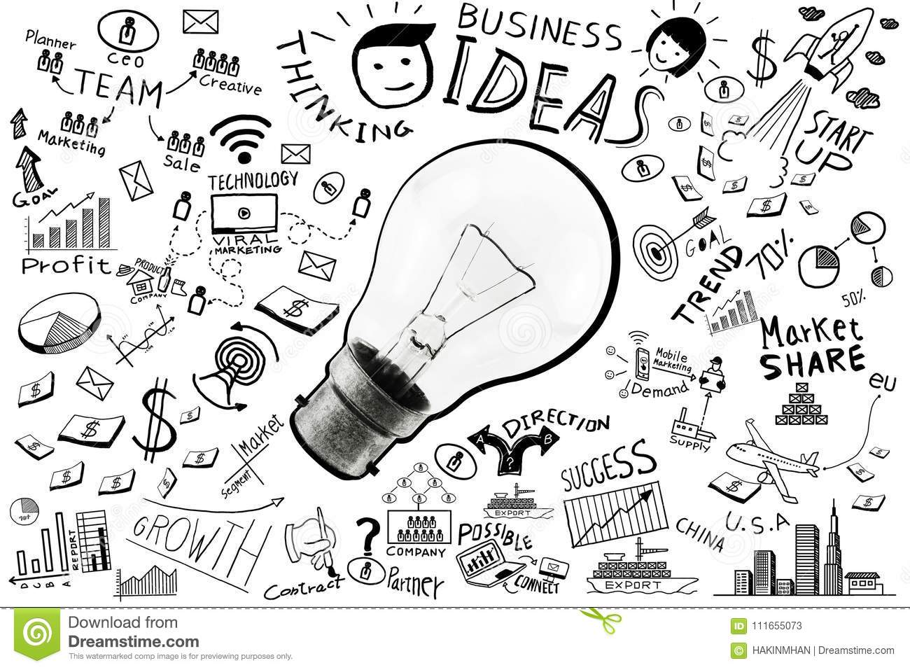 Business Ideas Freehand Drawing Light Bulb Business Doodles Set