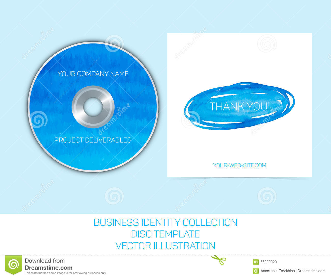 business identity collection blue and turquoise watercolor cd or