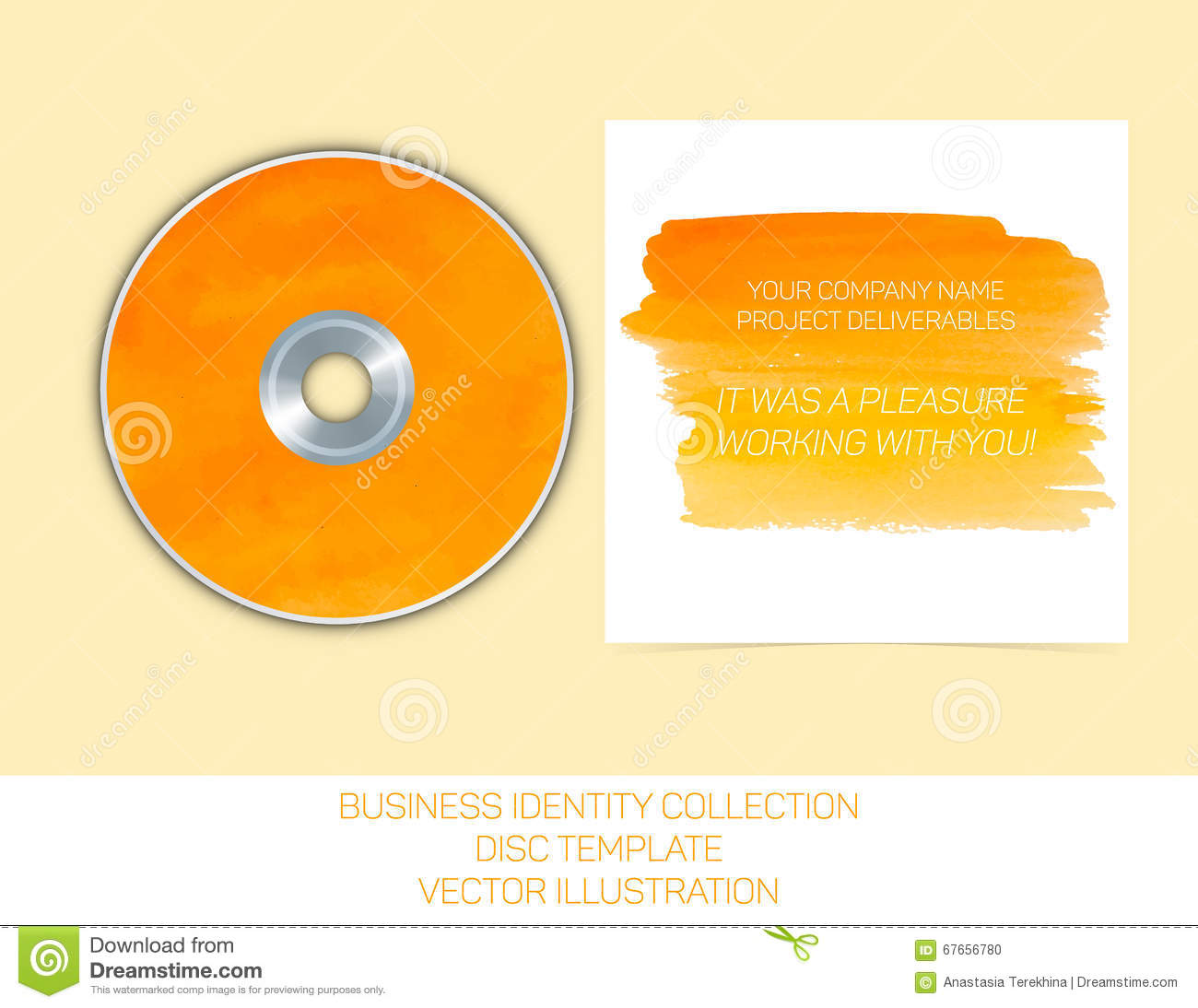 Business Identity Collection Orange And Yellow Watercolor Cd Or