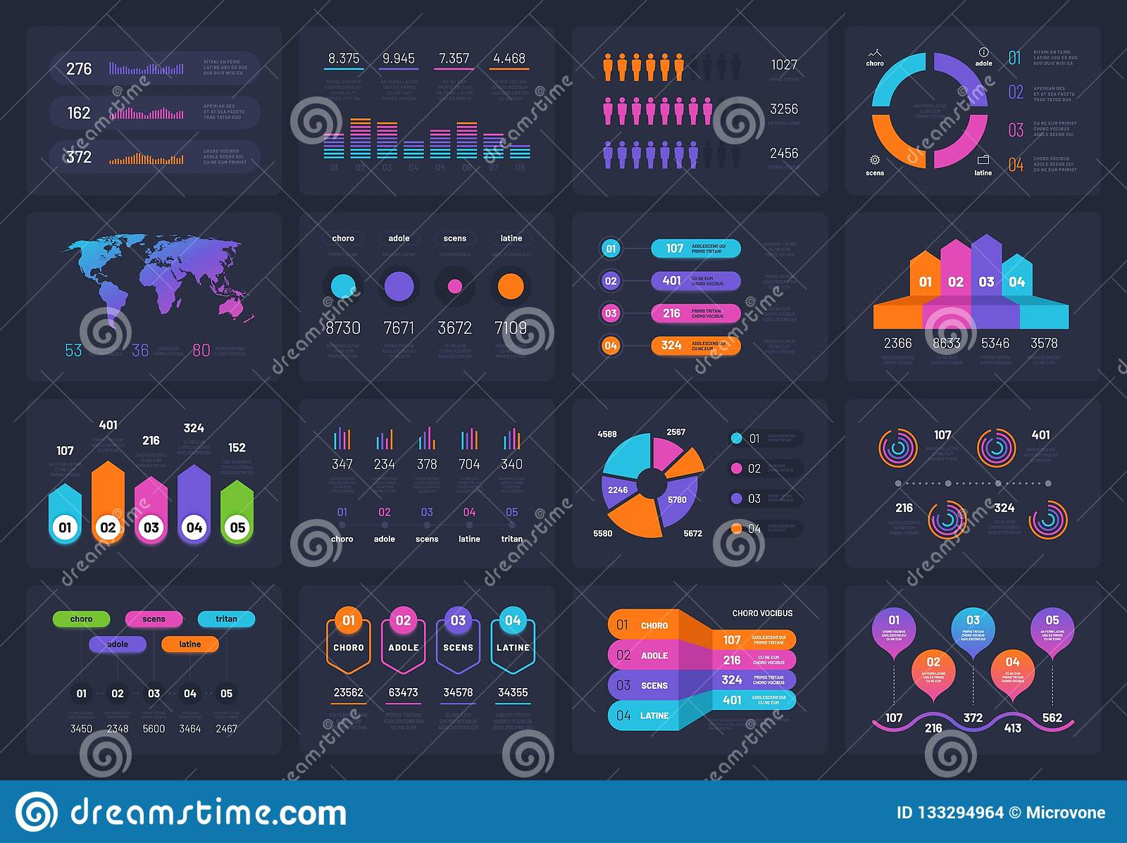 Business infograph elements. Workflow chart financial diagram timeline flowchart circle infograph. Presentation vector