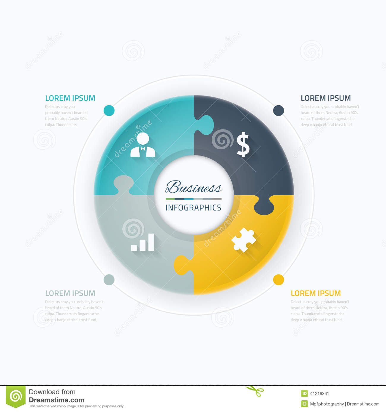 Business infographic elements circle with puzzle piece concept circle with puzzle piece concept and icons ccuart Choice Image