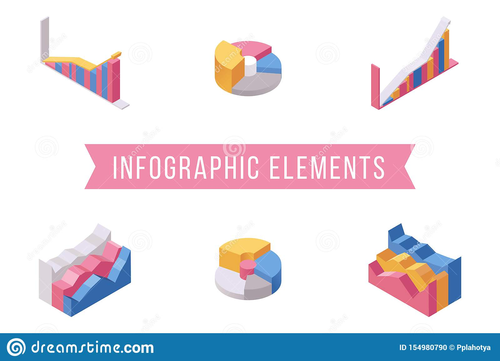 Business infographic elements isometric illustrations set. Various histograms, multicolor pie and stacked area charts