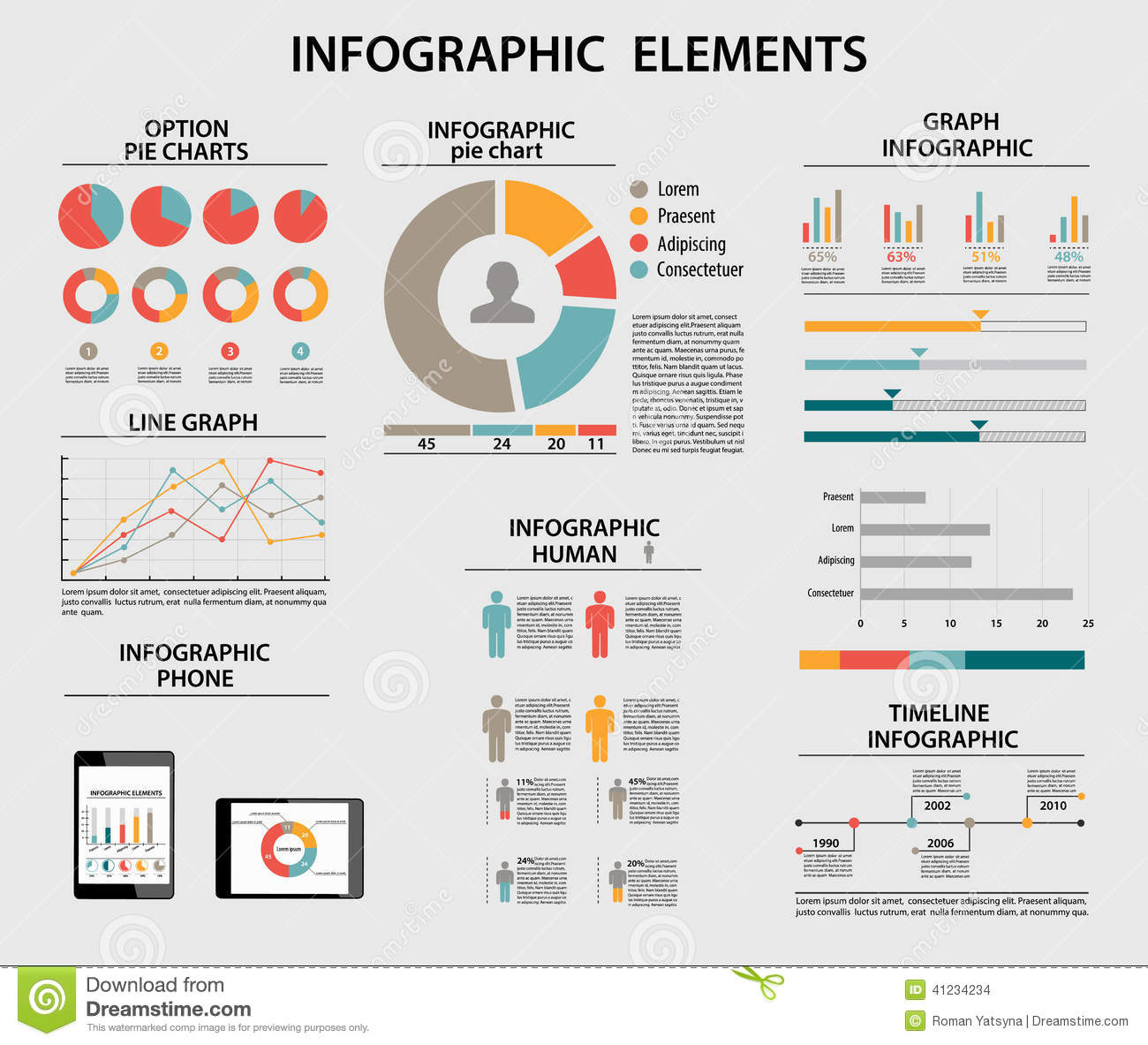 Business Infographic Elements Pie Charts Timeline
