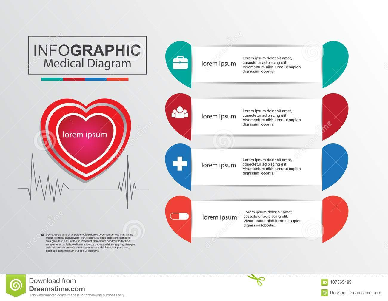 Business infographic medical diagram vertor heart stock vector graph chart project plan form education numbers file data icon template timeline diagram medical love valentine heart organization step ccuart Images
