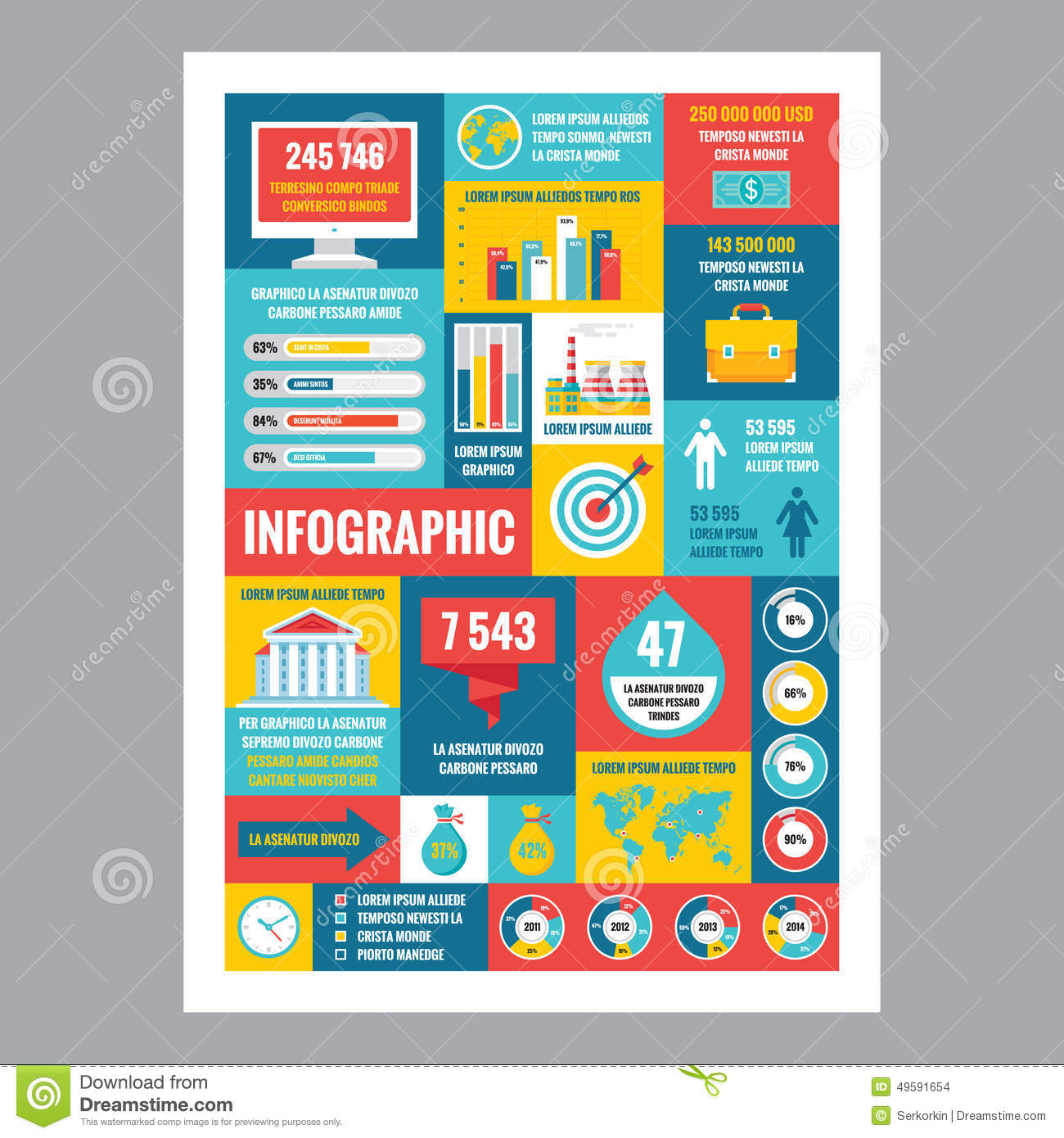 Poster design vector download - Business Infographic Mosaic Poster With Icons In Flat Design Style Vector Icons Set