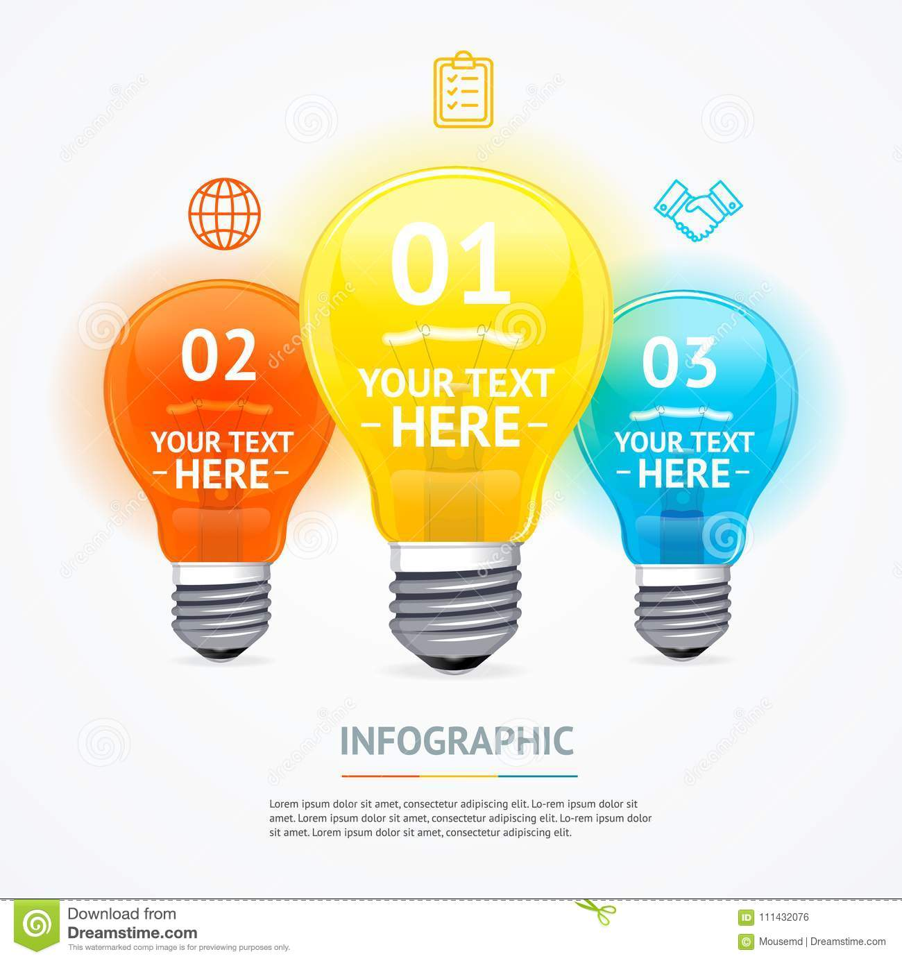 Business Infographic Electric Light Bulb Banner Card Vector Stock Diagram Of Incandescent