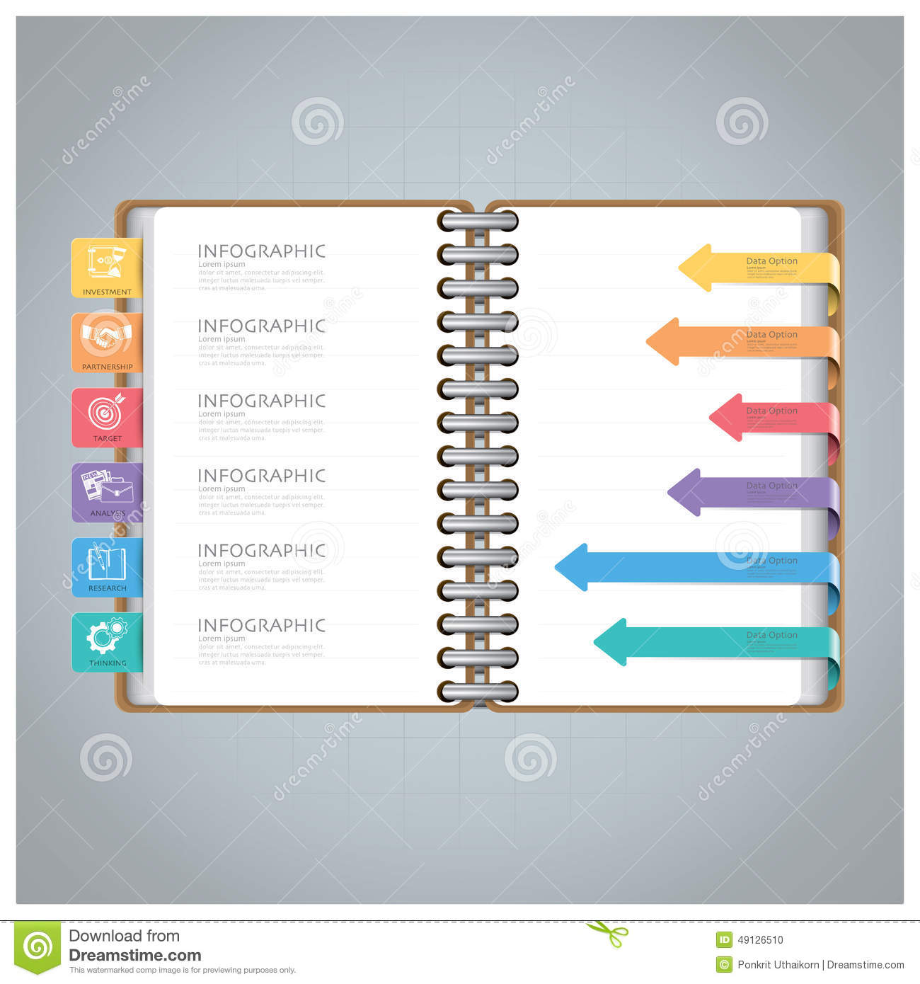 Business infographic with ring notebook arrow bookmark diagram stock business infographic with ring notebook arrow bookmark diagram ccuart Images