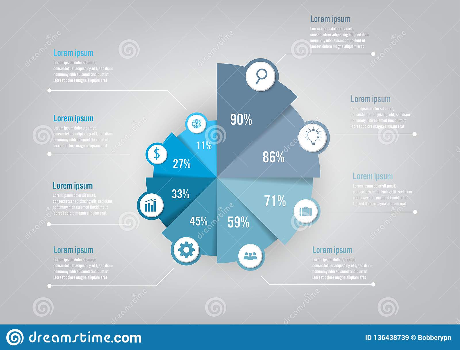 Business infographic template with 8 options pie chart, Abstract elements diagram or processes and business flat icon, Vector