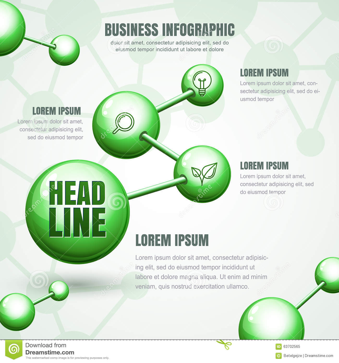 Business infographic template vector green molecular for Conceptual site model template