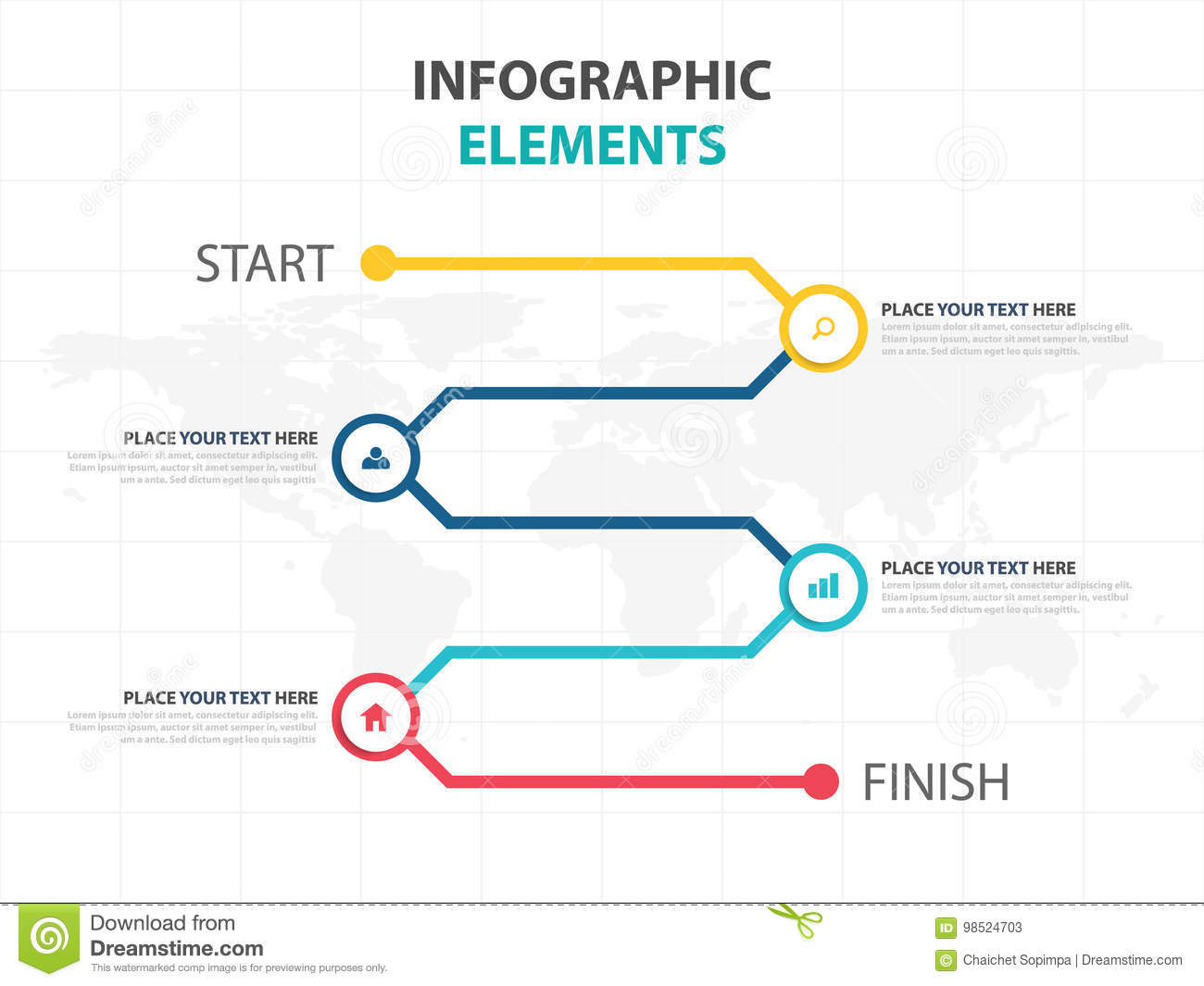 Business Infographic Timeline Process Template Colorful Banner Text - Workflow process template