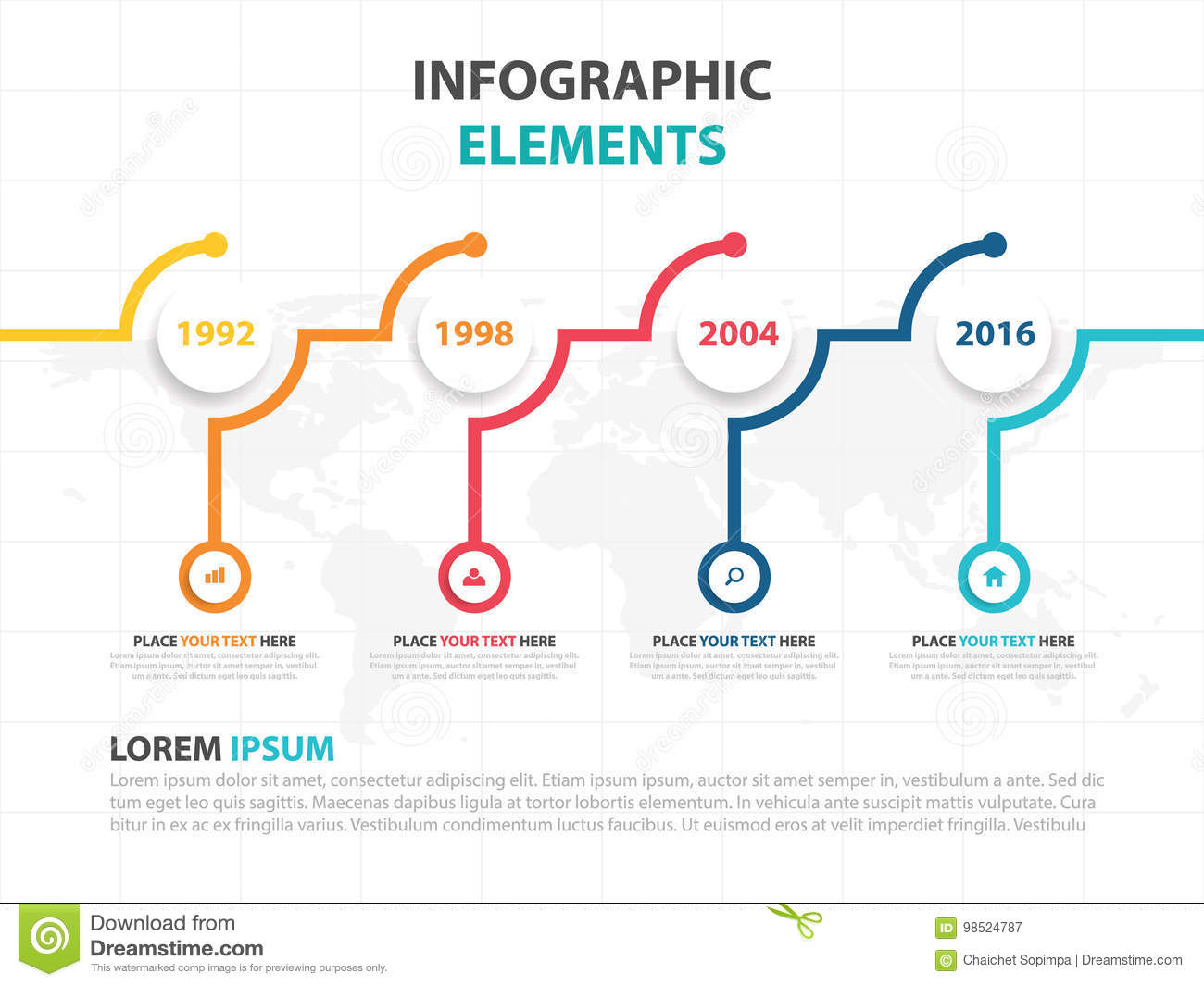 business infographic timeline process template colorful banner text