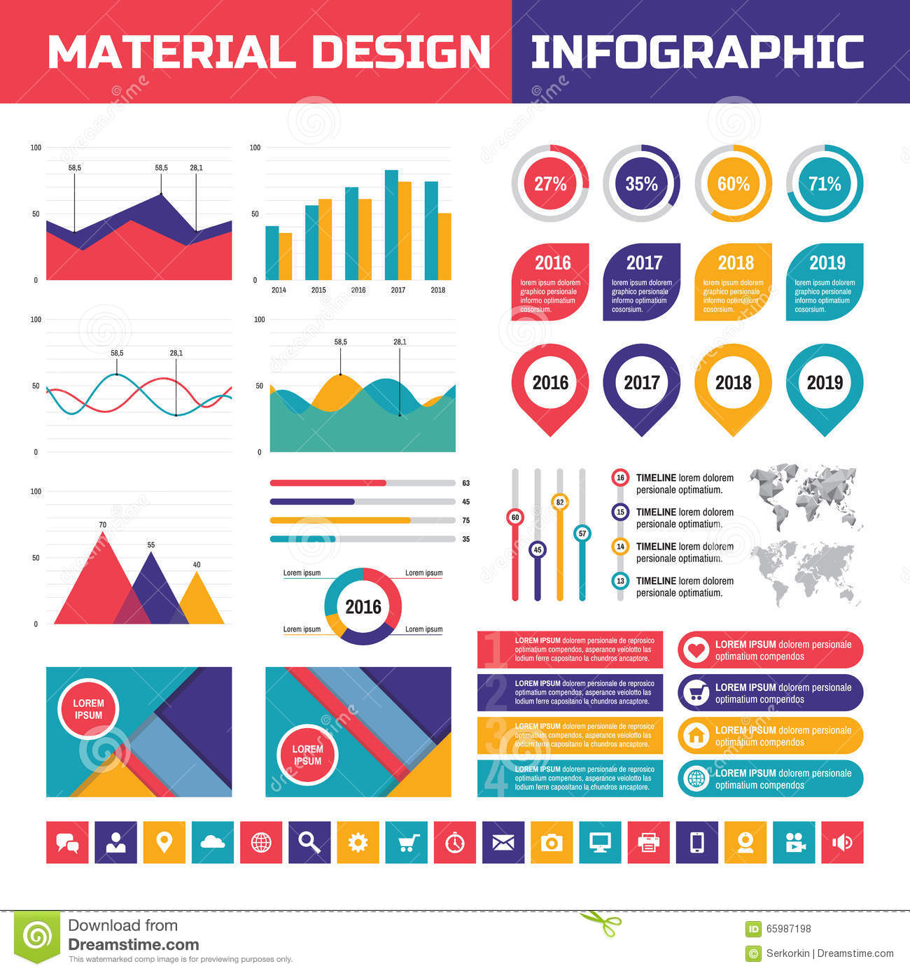 Design Style infographic business concept in flat design style - timeline